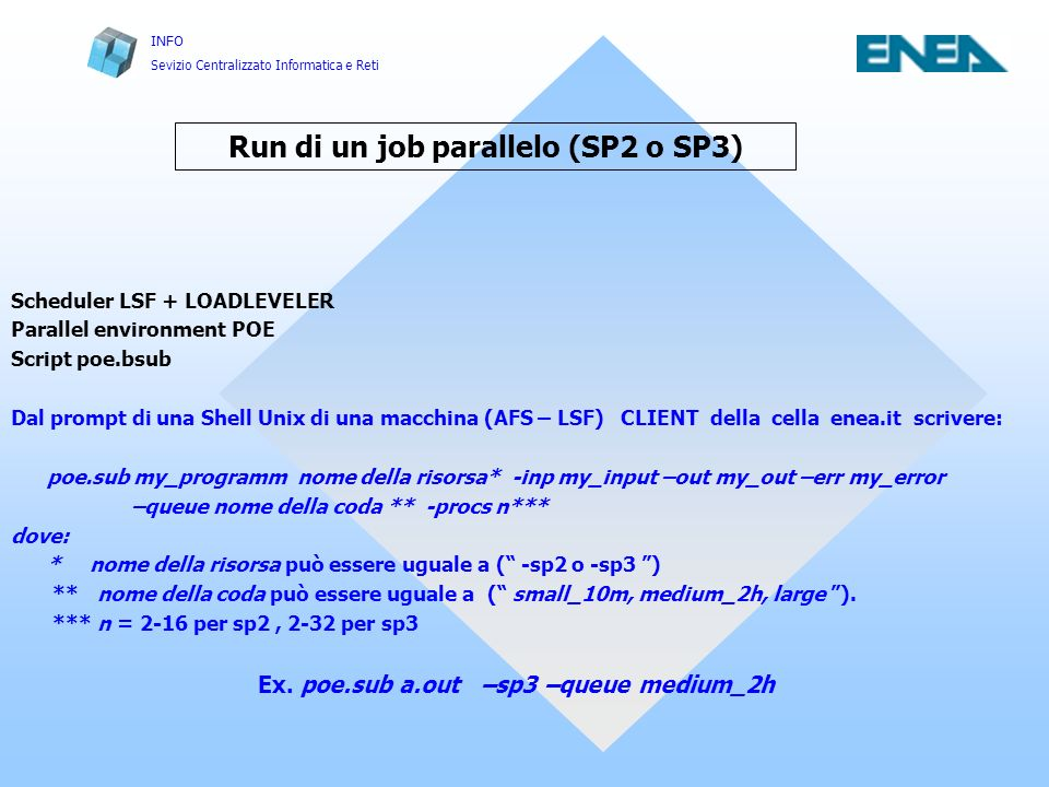 Run di un job parallelo (SP2 o SP3)