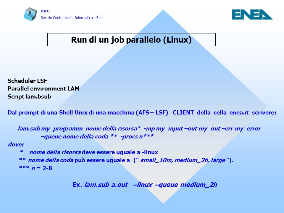 Run di un job parallelo (Linux)