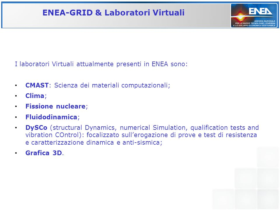 ENEA-GRID & Laboratori Virtuali