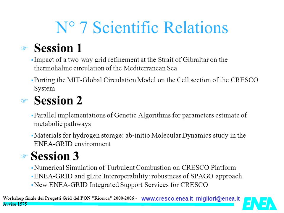N° 7 Scientific Relations