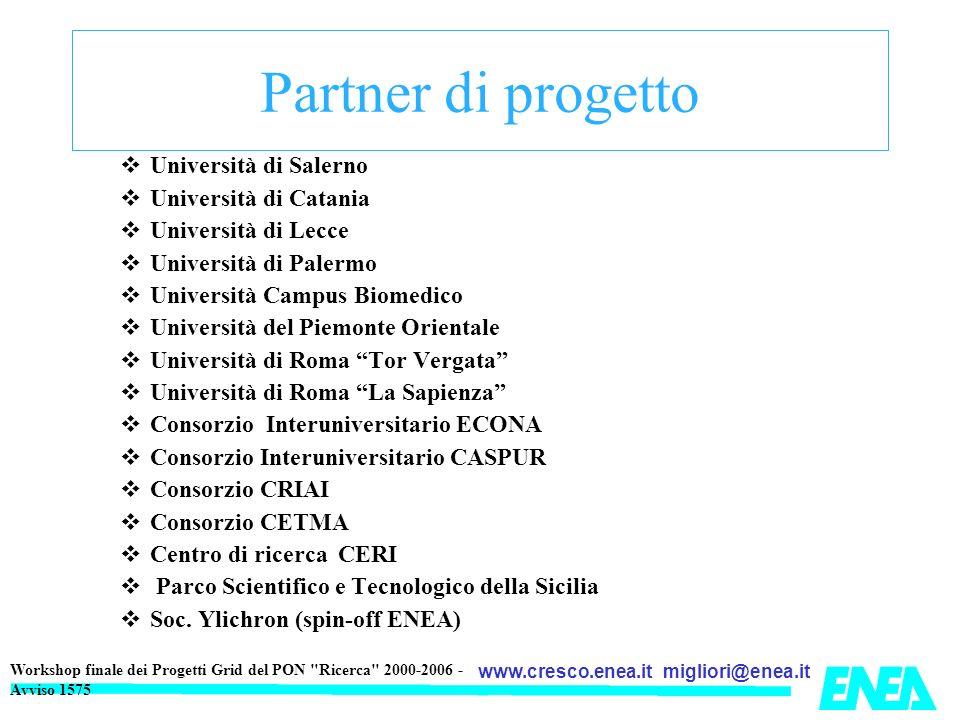 Partner di progetto Università di Salerno Università di Catania
