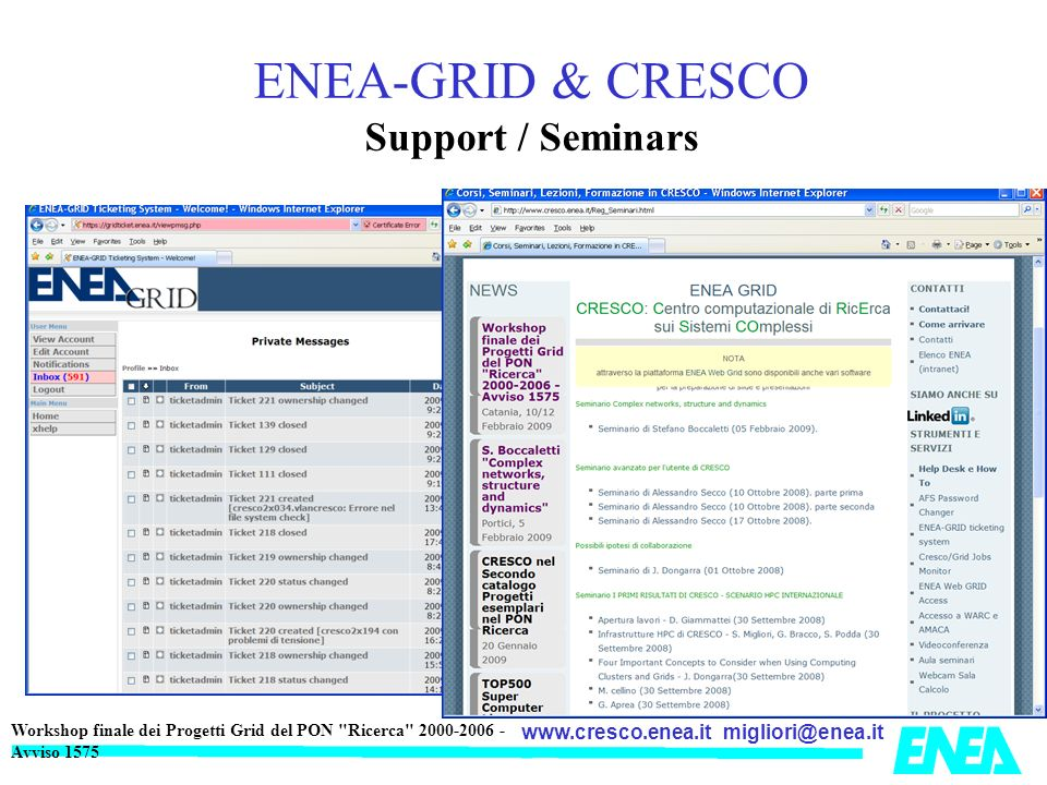 ENEA-GRID & CRESCO Support / Seminars
