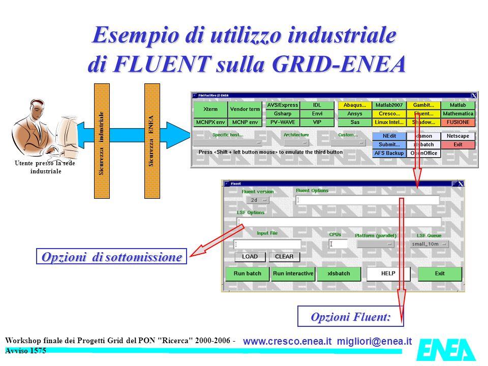 Esempio di utilizzo industriale di FLUENT sulla GRID-ENEA