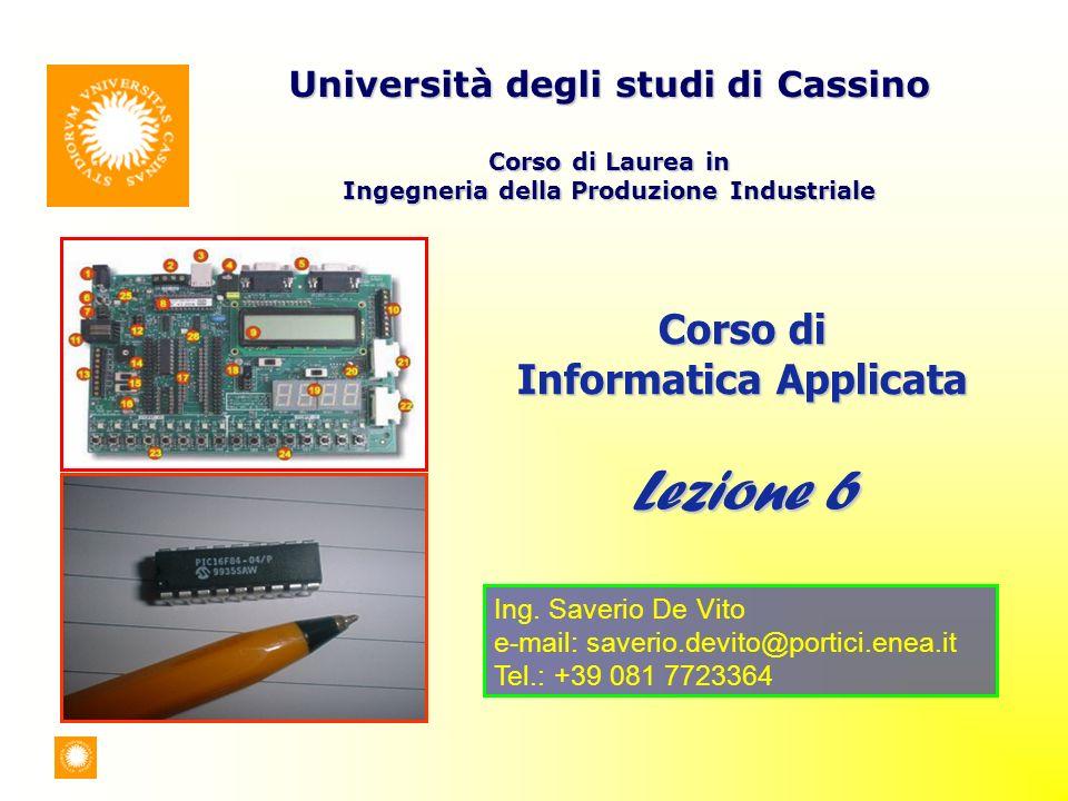 Corso di Informatica Applicata Lezione 6