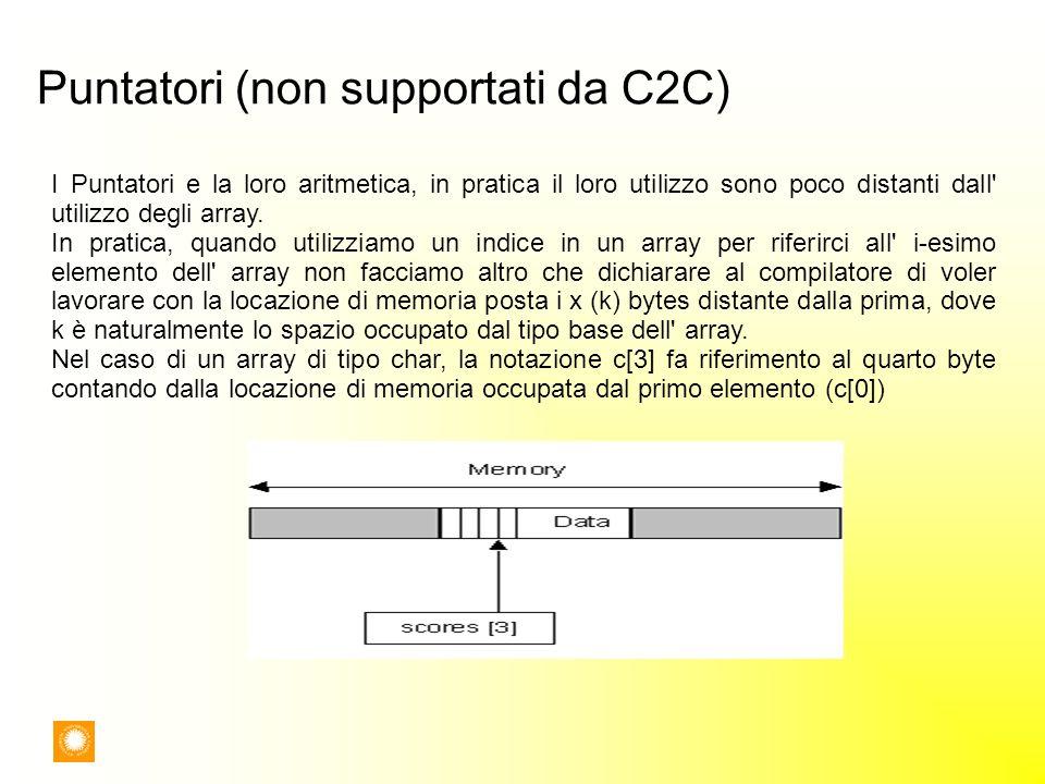 Puntatori (non supportati da C2C)