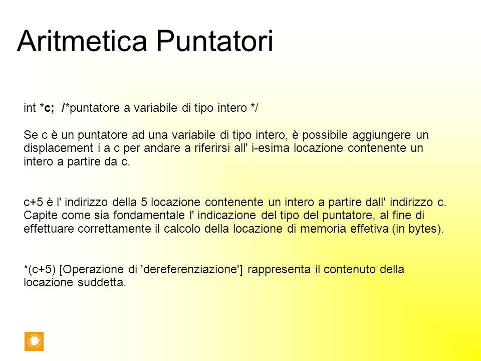 Aritmetica Puntatori int *c; /*puntatore a variabile di tipo intero */