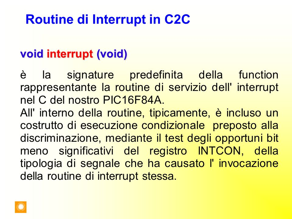Routine di Interrupt in C2C