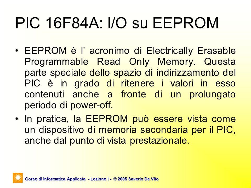 PIC 16F84A: I/O su EEPROM