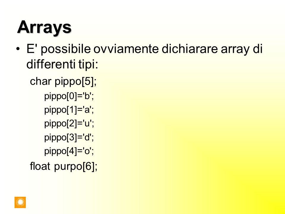Arrays E possibile ovviamente dichiarare array di differenti tipi: