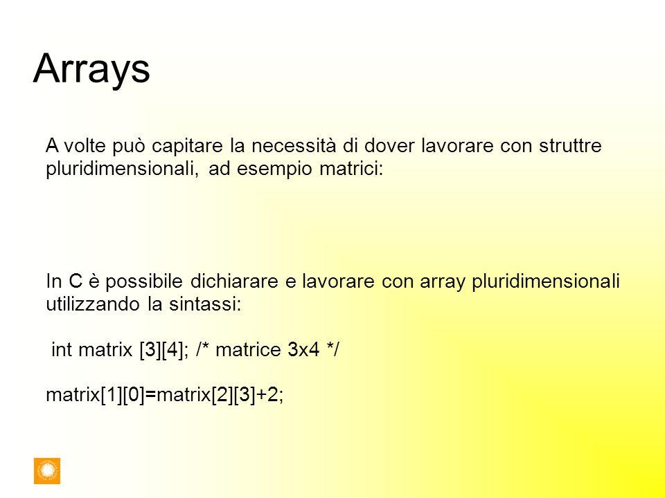 Arrays A volte può capitare la necessità di dover lavorare con struttre pluridimensionali, ad esempio matrici: