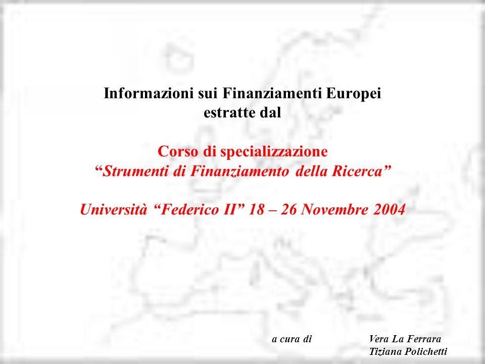 Informazioni sui Finanziamenti Europei estratte dal Corso di specializzazione Strumenti di Finanziamento della Ricerca Università Federico II 18 – 26 Novembre 2004