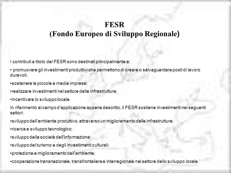 FESR (Fondo Europeo di Sviluppo Regionale)