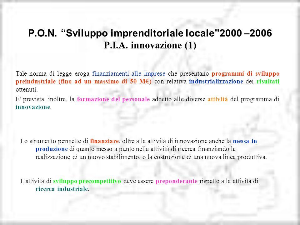 P. O. N. Sviluppo imprenditoriale locale 2000 –2006 P. I. A