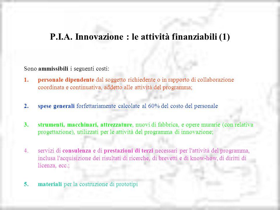 P.I.A. Innovazione : le attività finanziabili (1)