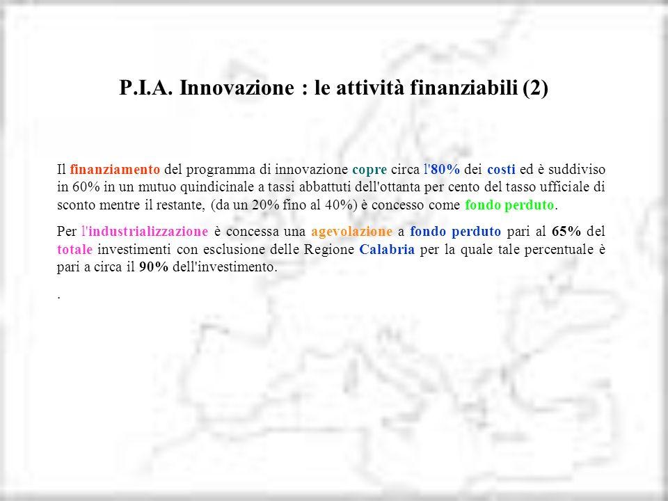 P.I.A. Innovazione : le attività finanziabili (2)