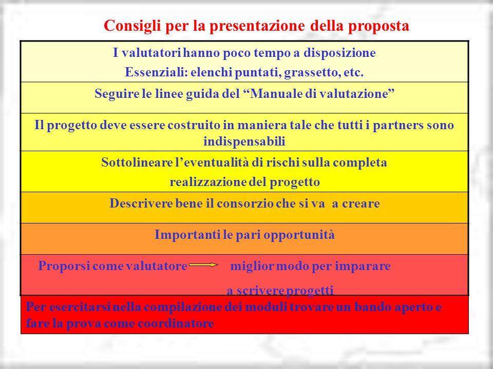 Consigli per la presentazione della proposta
