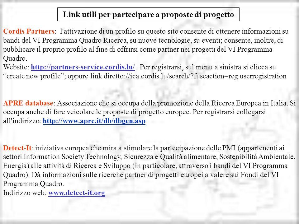 Link utili per partecipare a proposte di progetto