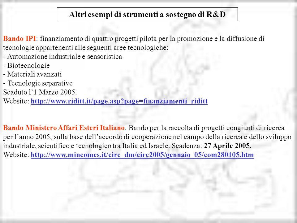 Altri esempi di strumenti a sostegno di R&D