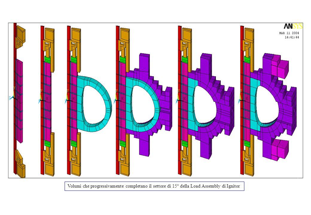 Figura 1 Volumi che progressivamente completano il settore di 15° della Load Assembly di Ignitor