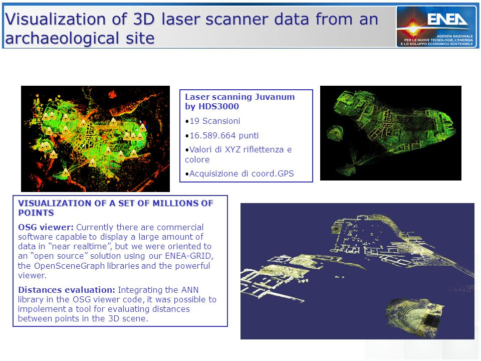 Visualization of 3D laser scanner data from an archaeological site