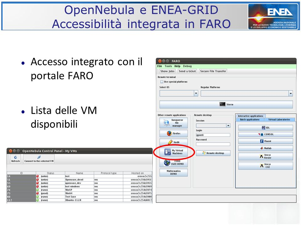 OpenNebula e ENEA-GRID Accessibilità integrata in FARO