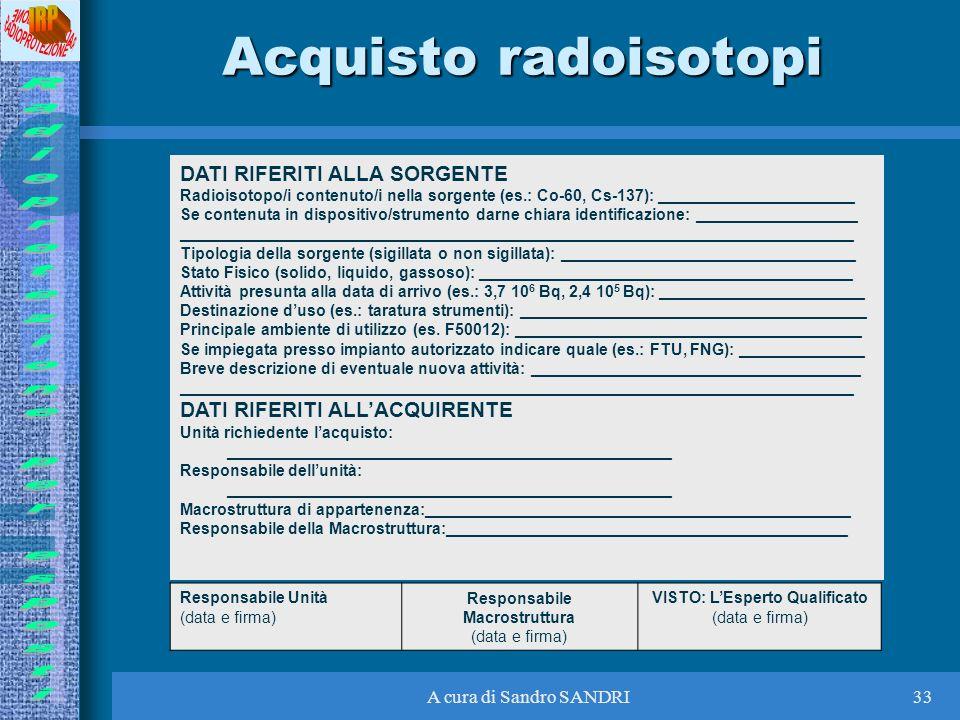Acquisto radoisotopi DATI RIFERITI ALLA SORGENTE