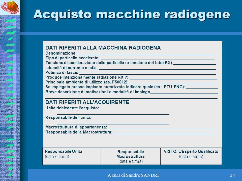 Acquisto macchine radiogene