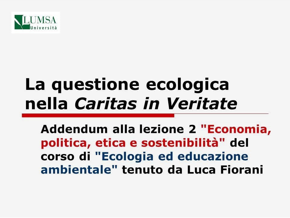La questione ecologica nella Caritas in Veritate