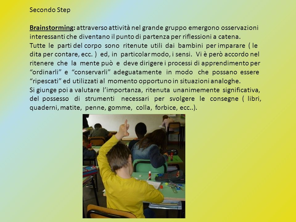 Secondo Step Brainstorming: attraverso attività nel grande gruppo emergono osservazioni.