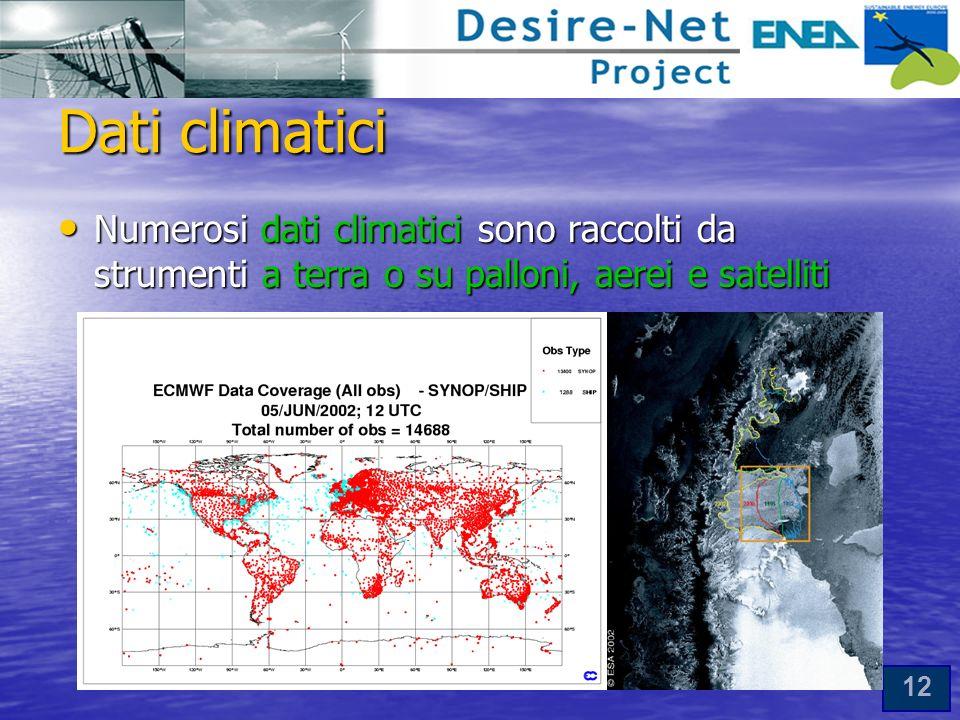 Dati climatici Numerosi dati climatici sono raccolti da strumenti a terra o su palloni, aerei e satelliti.
