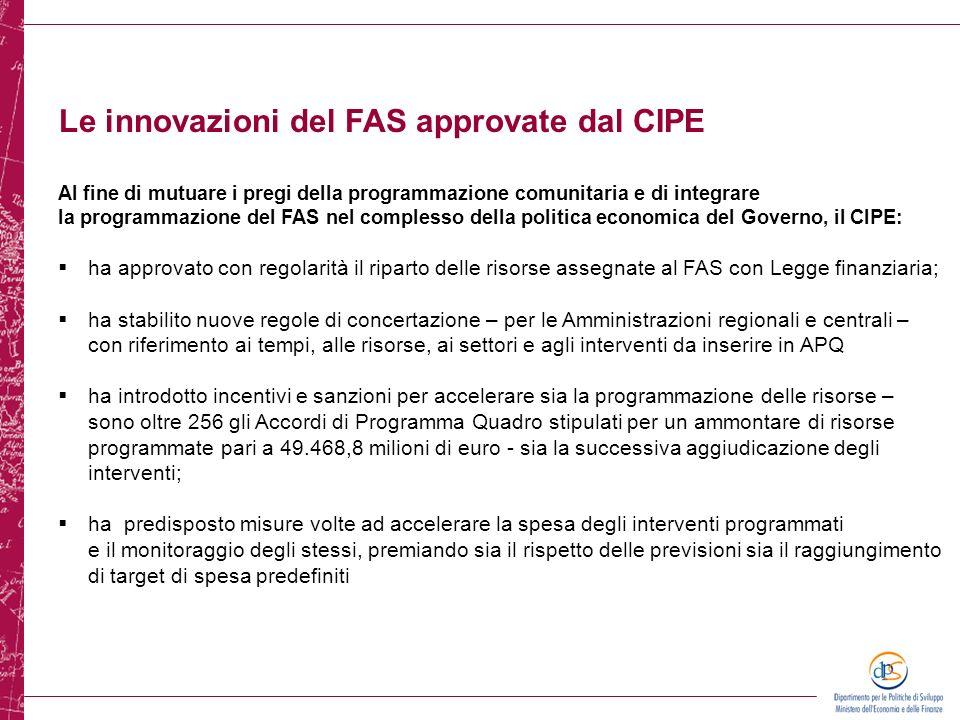 Le innovazioni del FAS approvate dal CIPE