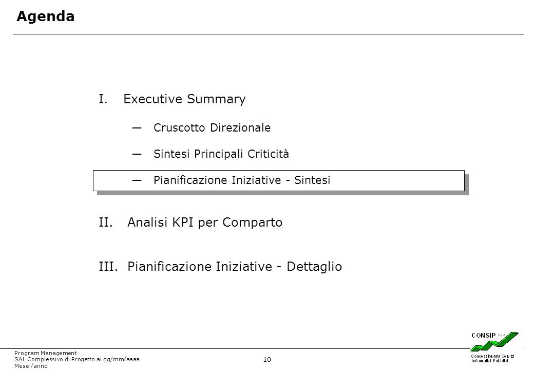 Agenda Executive Summary Analisi KPI per Comparto