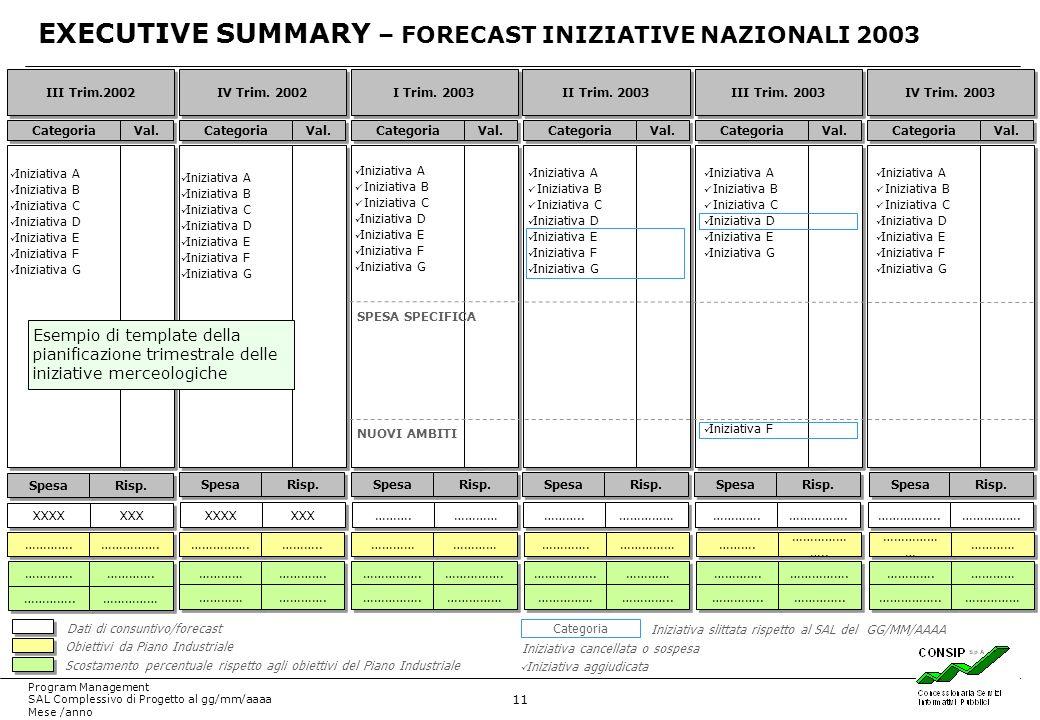 EXECUTIVE SUMMARY – FORECAST INIZIATIVE NAZIONALI 2003