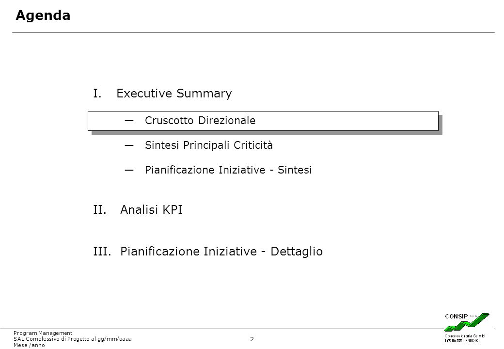 Agenda Executive Summary Analisi KPI