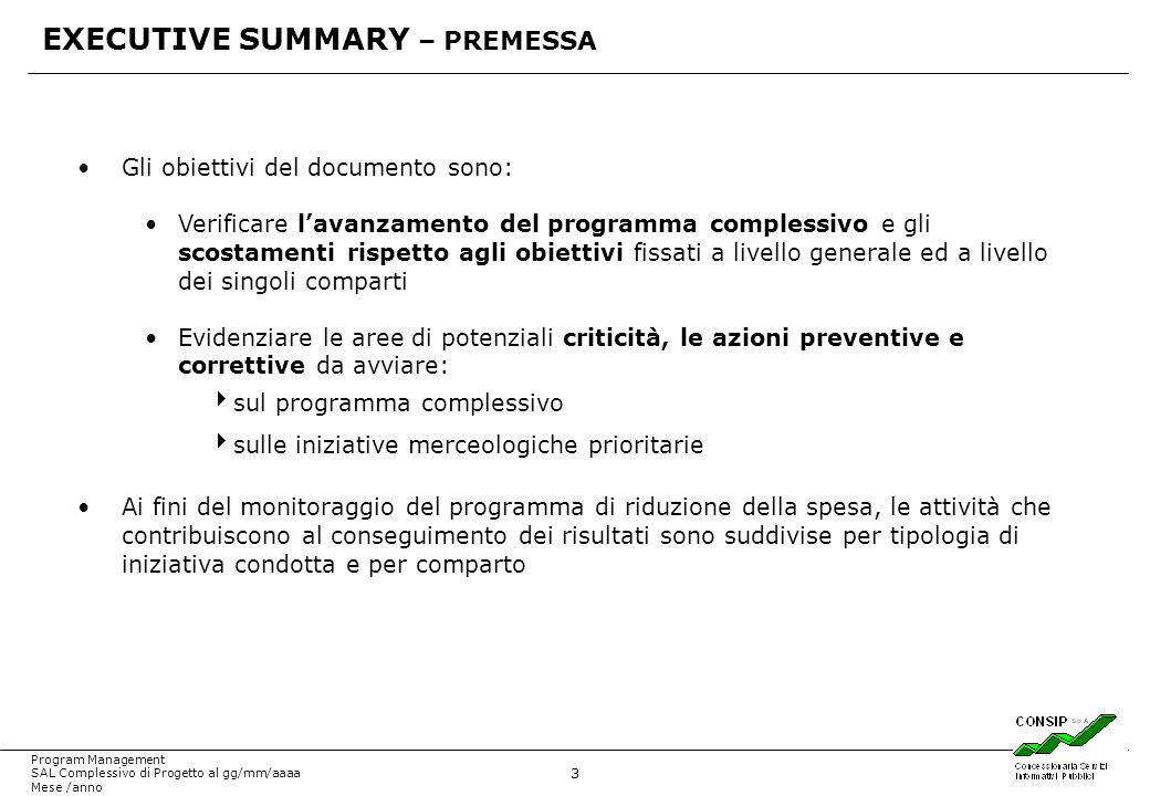 EXECUTIVE SUMMARY – PREMESSA
