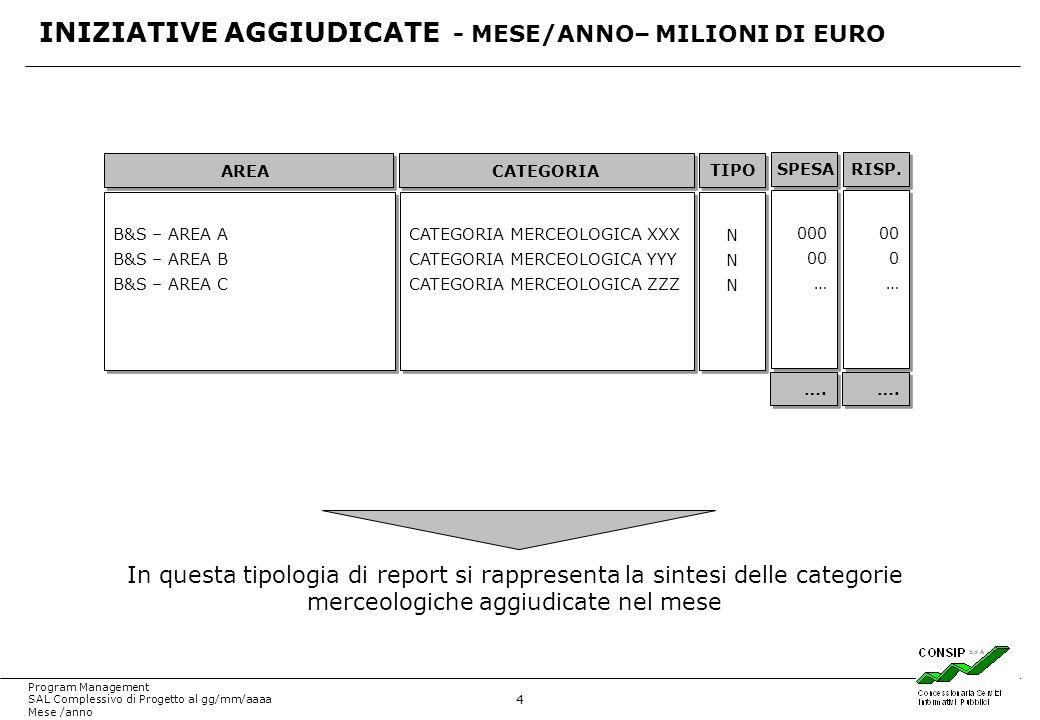 INIZIATIVE AGGIUDICATE - MESE/ANNO– MILIONI DI EURO