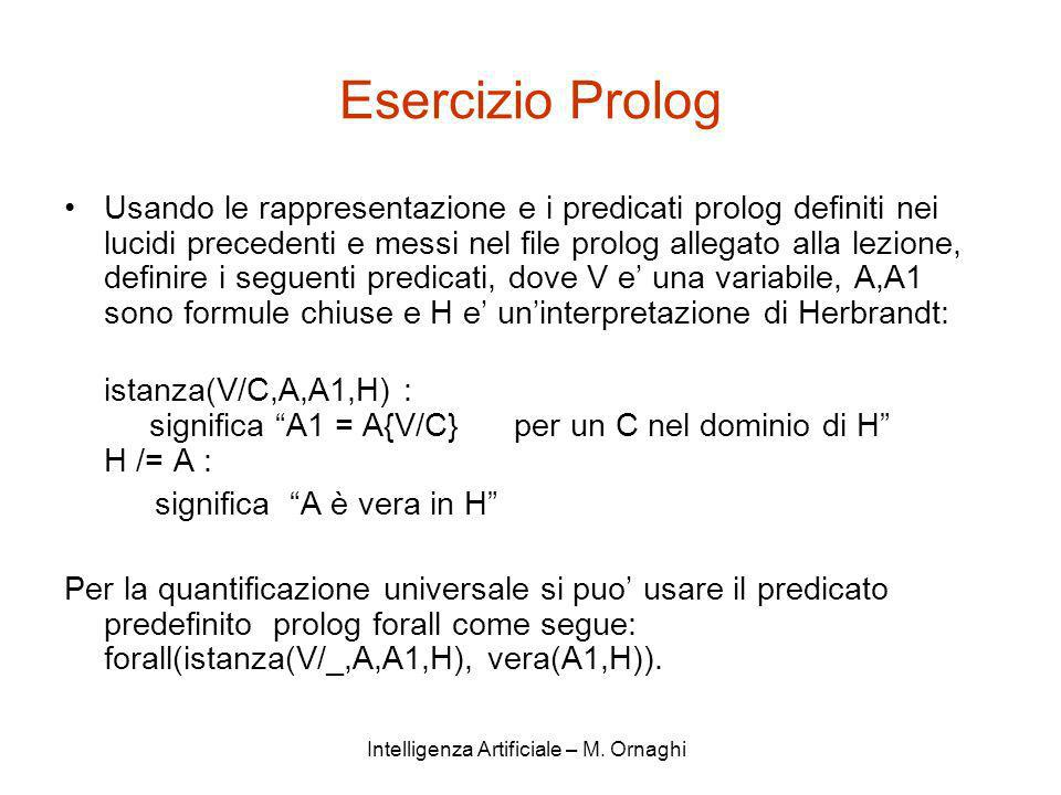 Intelligenza Artificiale – M. Ornaghi