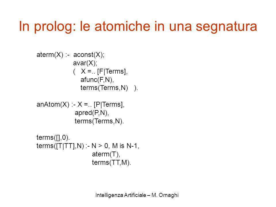 In prolog: le atomiche in una segnatura