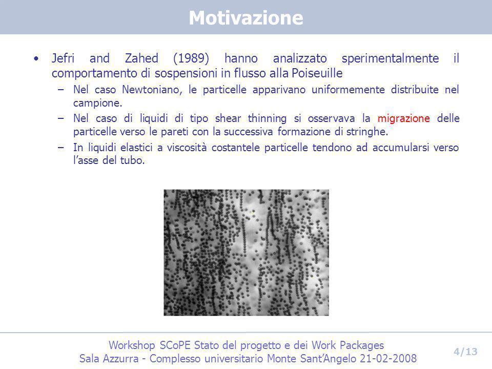 Motivazione Jefri and Zahed (1989) hanno analizzato sperimentalmente il comportamento di sospensioni in flusso alla Poiseuille.