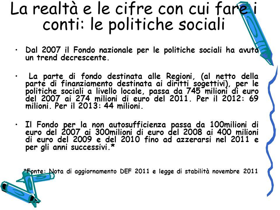 La realtà e le cifre con cui fare i conti: le politiche sociali