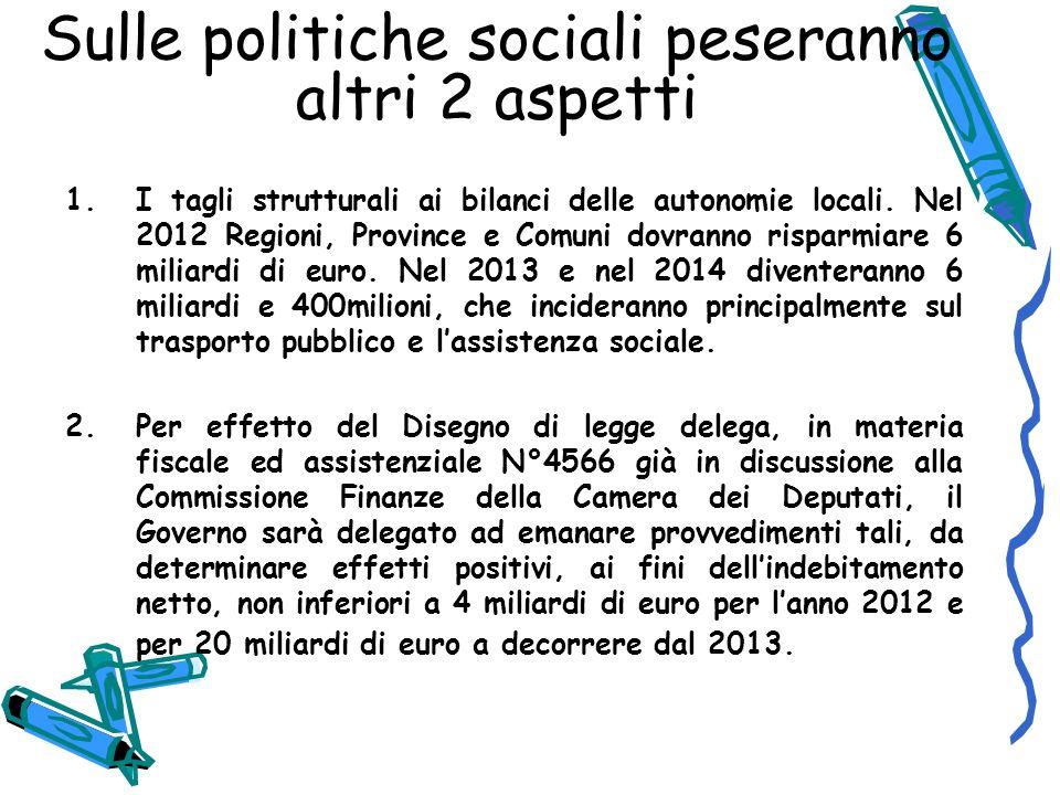 Sulle politiche sociali peseranno altri 2 aspetti