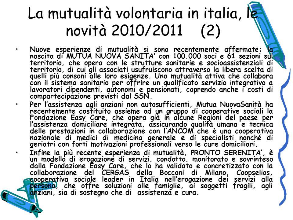 La mutualità volontaria in italia, le novità 2010/2011 (2)