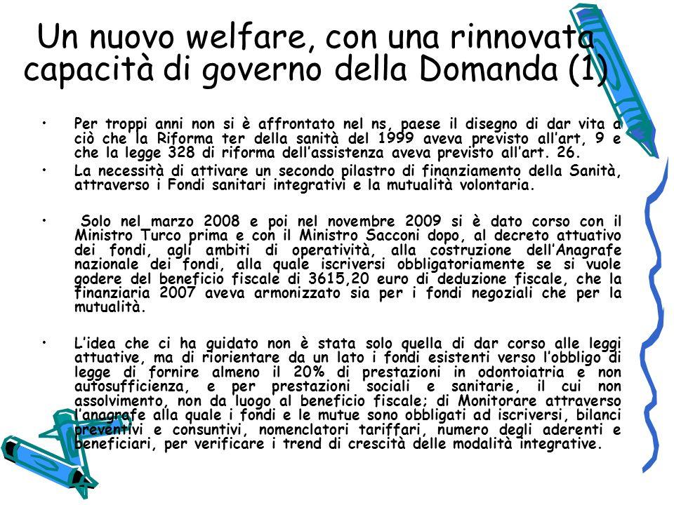 Un nuovo welfare, con una rinnovata capacità di governo della Domanda (1)