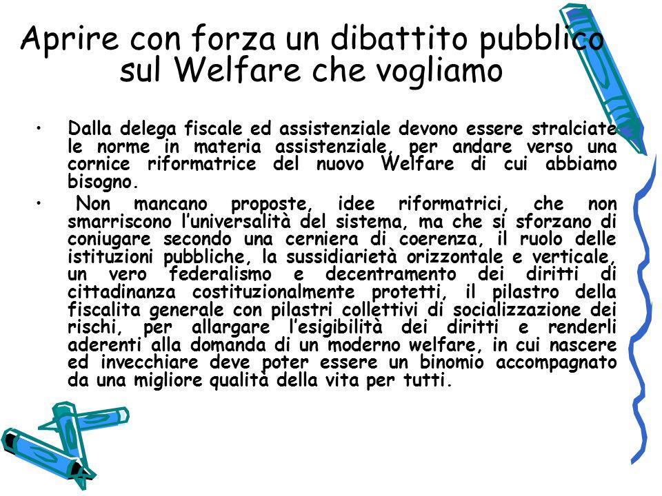 Aprire con forza un dibattito pubblico sul Welfare che vogliamo