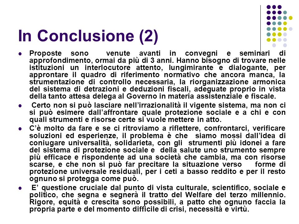 In Conclusione (2)
