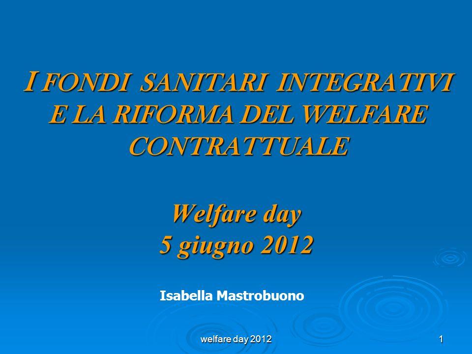 I FONDI SANITARI INTEGRATIVI E LA RIFORMA DEL WELFARE CONTRATTUALE Welfare day 5 giugno 2012