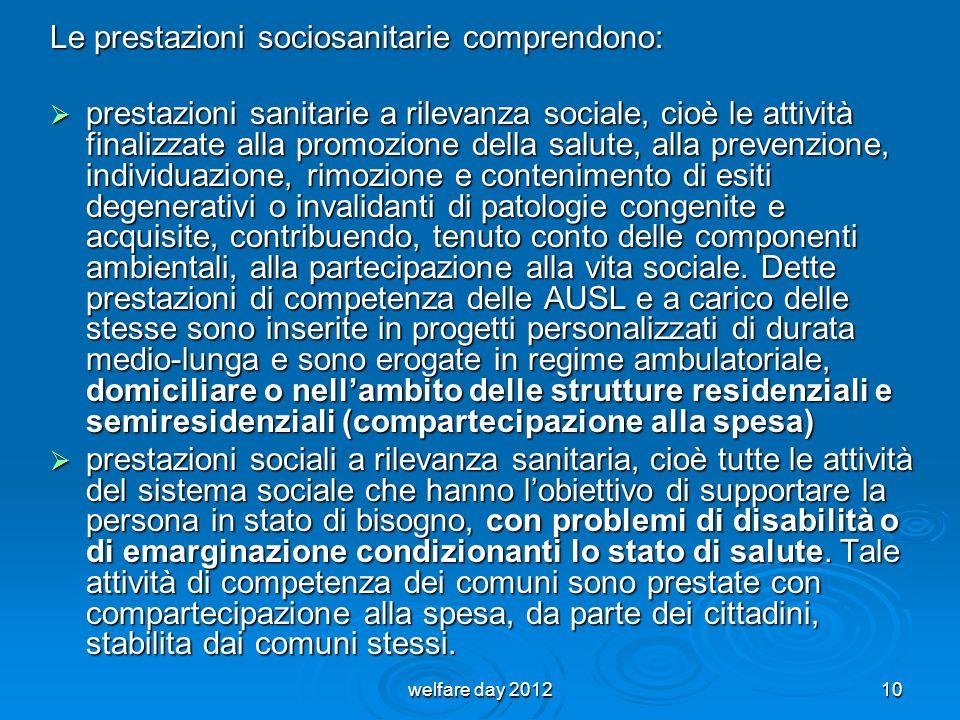 Le prestazioni sociosanitarie comprendono: