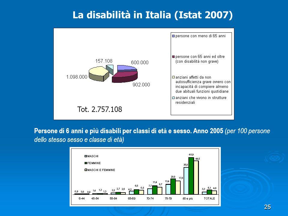 La disabilità in Italia (Istat 2007)
