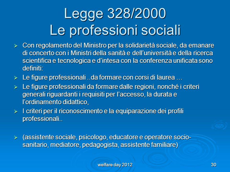 Legge 328/2000 Le professioni sociali