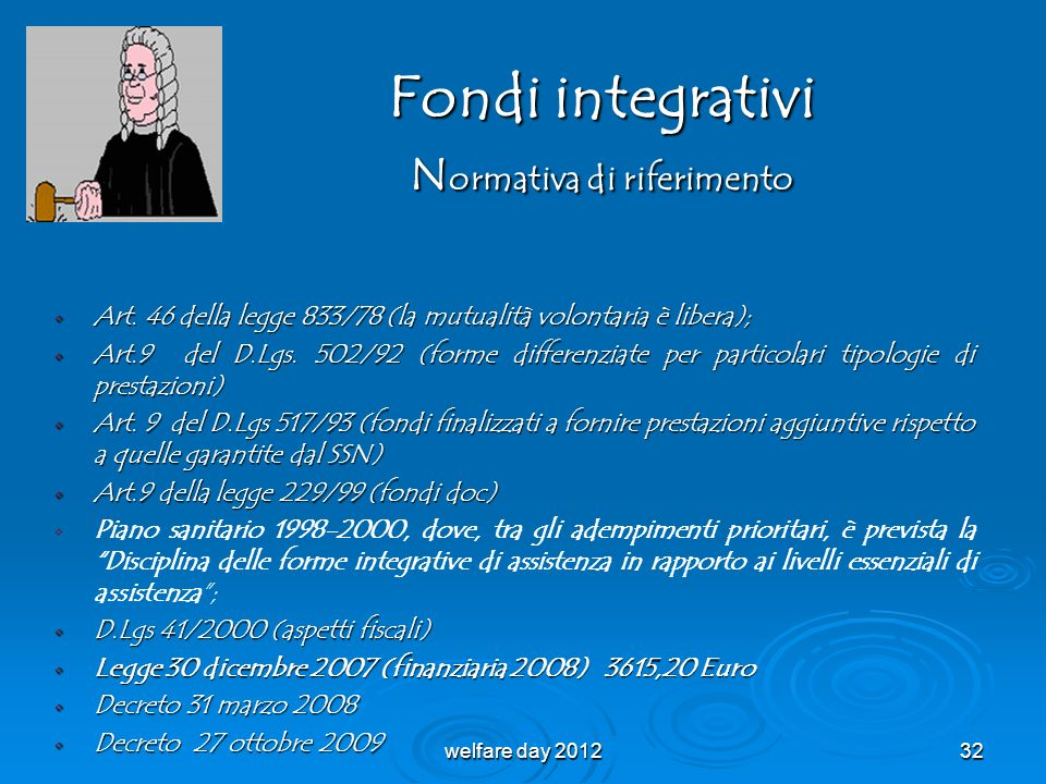 Fondi integrativi Normativa di riferimento